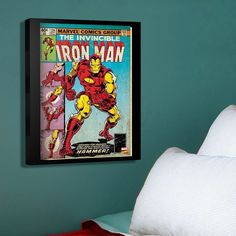 Marvel Iron Man Hammer Comic Cover 20'' x 16'' Canvas Wall Art,... ($50) ❤ liked on Polyvore featuring home, home decor, wall art, vertical canvas wall art, iron home decor, vertical wall art, canvas home decor and marvel wall art