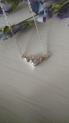Sterling Silver Crystal Necklace Dainty Heart Wings Vintage 925 Charm Designer Fashion Jewelry