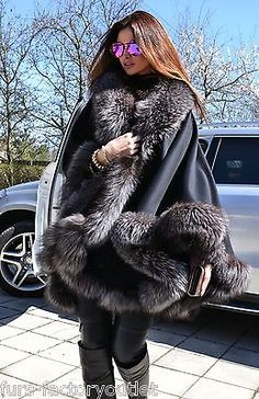 2015 MILANO silver fox fourrure cashmere poncho classe vison zibeline manteau renard veste saga in Clothes, Shoes & Accessories, Women's Clothing, Coats & Jackets | eBay