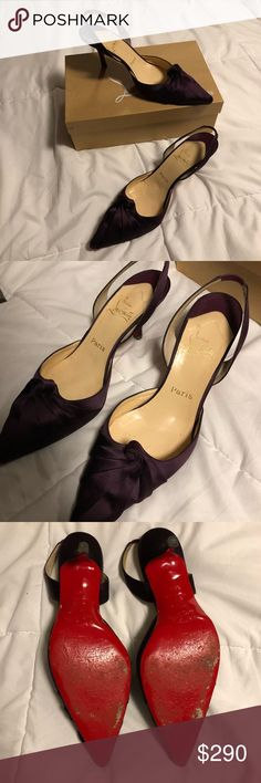 Christian Louboutin Plum Satin Slingback Pumps 40 Christian Louboutin Plum Slingback Pumps  - Worn to an outdoor event. The tiny heels sunk into the ground. I've cleaned up the heels (pics) and reduced the price to reflect - Size 40 (US 10) personally I think would fit a 9 or 9.5 better - Comes with Box but I don't know where the dust bag is - 3 inch heel  All of my items will have the full purchase price donated to a local charity in Chicago until March 29th. Christian Louboutin Shoes Heels