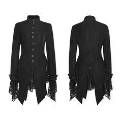 Gothic-Jacke / -Damenfrack Black Snow mit Spitze