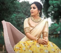 Traditional Half Saree Designs That Will Blow Your Mind!! • Keep Me Stylish New Saree Blouse Designs, Half Saree Designs, Fancy Blouse Designs, Bridal Blouse Designs, Lehenga Designs, Blouse Patterns, Half Saree Lehenga, Saree Dress, Green Lehenga