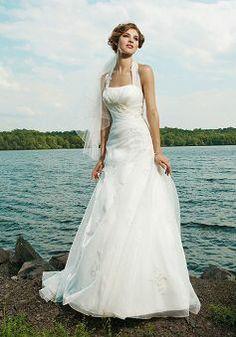 Splendid A line Halter Organza Spring Court Train Wedding Gown - Lunadress.co.uk