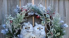 Adorable winter owl family huddled together in the snowy woods.   Measures: 28T x 27W x 7D    This wreath is suitable for indoor or outdoor use ***as long as it is used in a protected area like a porch, covered patio, or deck.*** [*NOT water resistant, elements will mildew if they get wet*]    **Check out my ENTIRE WREATH GALLERY at: IGWgallery.blogspot.com**    I use only the best available, high quality products to design all of my items.     The item pictured is the exact one you will…