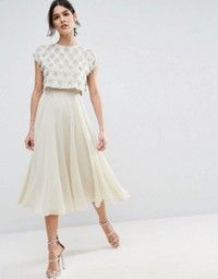 429beb74dd0f6e2 Discover Fashion Online Платья С Блестками, Платье Со Сборками С Завышенной  Талией, Платье Юбка