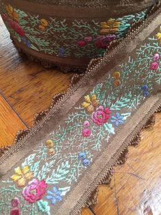 Vintage French floral jacquard Ribbon, pink, green, blue, yellow embroidered florals, brown background 1 5/8 inches, scalloped edge by PromenadeFabrics on Etsy