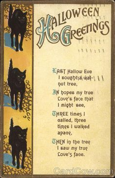 Postmark/Cancel: 1912 Nov-1  Peekskill, NY Halloween Greetings - Three Black Cats with Hunched Backs