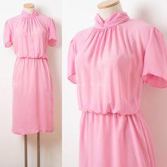 Vintage Pink Dress Vintage 80s Dress by TrendyHipBuysVintage