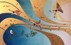 Flycatchers On A Breeze. Oil and gold leaf on canvas. Original art by Joanna Charlotte.