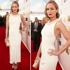Red Carpet Trend: Whites—Emily Blunt in Miu Miu - #grazielagems @Graziela Kaufman