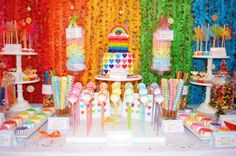 Sweet Simplicity Bakery: Rainbow Theme Birthday Party First Birthday Party; Rainbow and Clouds Backdrop; Rainbow and Hearts Cake; Dessert and Candy Buffet Display Table