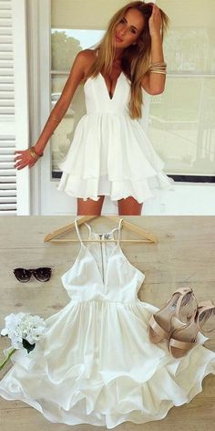 Prom dresses short - Simple spaghetti straps homecoming dresses, deep v neck short homecoming dresses, white tiered short prom dresses – Prom dresses short Homecoming Dresses Under 100, Wedding Dresses Near Me, Buy Wedding Dress, Hoco Dresses, Sexy Dresses, Cute Dresses, White Graduation Dresses, Party Dresses, Formal Dresses