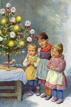 Weihnachten vor hundert Jahren ~ Wie süß und bescheiden die Kinderlein vor dem kleinen Baum stehen!