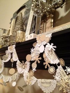 Banners with vintage sheet music, book pages, doilies! Ideas for using my new sheet music paper loops garland All Things Christmas, White Christmas, Christmas Holidays, Christmas Ornaments, Handmade Christmas, Vintage Christmas, Sheet Music Crafts, Music Paper, Book Page Crafts