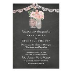 Chic Mason Jar & Chalkboard Wedding Invitation