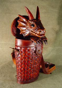 Bob Basset's Lair – Dragon in baasket. New leather handbag.