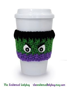 2015 The Avengers: Age of Ultron Incredible Hulk Inspired Crochet Coffee Cup - The Avengers cup cozy - LoveItSoMuch.com