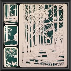 Home on the Farm paper art by Liz Butcher. 3 layers of papercutting. Not layered yet.
