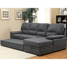 Inviting in design and style, this sectional is a convenient structure that will fit the most space-conscious of homes. The faux nubuck provides a velvet-like exterior while storage compartments and sleeper hide below the plush seat cushions.