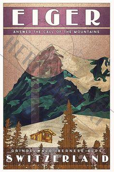 Switzerland Eiger- Vintage Travel Poster by HeritageArtPrints on Etsy https://www.etsy.com/au/listing/224110514/switzerland-eiger-vintage-travel-poster #Vintagetravelposters