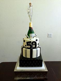Exploding champagne bottle cake.
