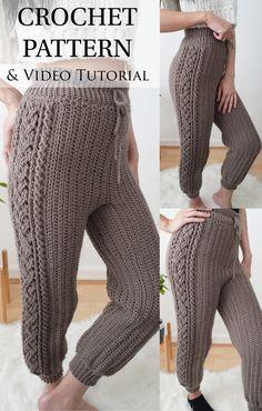 Crochet Pants Pattern, Free Crochet Sweater Patterns, Hooded Scarf Pattern, Crotchet Patterns, Pattern Sewing, Cute Crochet, Easy Crochet Socks, Easy Crochet Stitches, Easy Crochet Projects