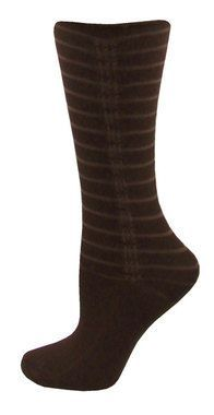 Vertical Scrunch Crew Socks - Brown