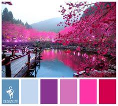 Cherry Lake: Blue, Pastel, Purple, lilac, pink, cerise - Colour Inspiration Pallet