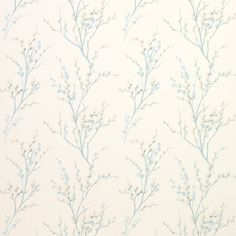 Laura Ashley Pussy Willow Off White/Duck Egg Floral Wallpaper