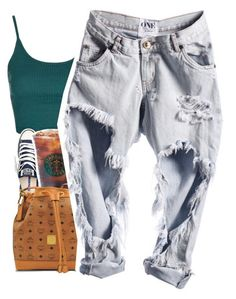 """Untitled #414"" by uniquee-beauty ❤ liked on Polyvore featuring Topshop, Converse and MCM"