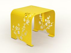 Intense yellow of the table will liven up your interior. Cherry-blossom ornament looks perfect against monochrome background. Oval edges make open-work pattern even more visible. We recommend it in combination with Orient mirror. Cute Furniture, Steel Furniture, Table Furniture, Furniture Design, Furniture Ideas, Bespoke Furniture, Furniture Inspiration, Modern Furniture, Spring Design