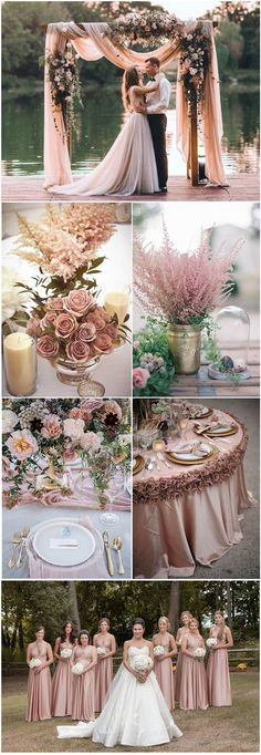 18 Romantic Dusty Rose Wedding Color Ideas for 2018; ideas for gowns, table settings, centerpieces, & decor #weddinginspiration