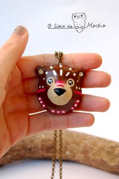 Brown bear head necklace. Handmade.