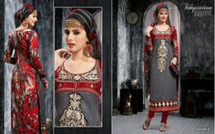 Grey #Pashmina Unstitched #Dress material with Embroidery #woolen #ethnics #winterfashion #indianfashion Price:2299 www.themagicalthread.com
