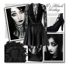 """It's Black Friday!"" by isabeldizova ❤ liked on Polyvore featuring Kershaw, Urban Decay, Senso, Zuhair Murad, Giamba, black, goth, gothic, youtube and ItsBlackFriday"