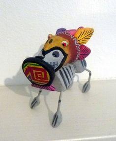 Day of The Dead Mexican Folk Art Skeleton Dog Aztec Eagle Mask Shield | eBay