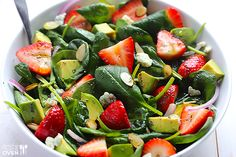 Spinach Strawberry Avocado Salad - A delicious spinach salad with fresh strawberries, avocados, and a simple poppyseed dressing.