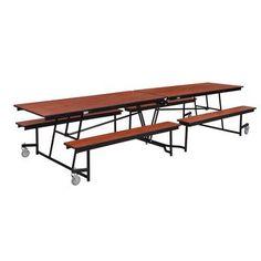 National Public Seating Rectangular Cafeteria Table Size: 12', Frame Finish: Chrome, Tabletop Color: Banister Oak