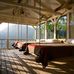 Sleeping porch overlooking lake. Photo by Quentin Bacon.