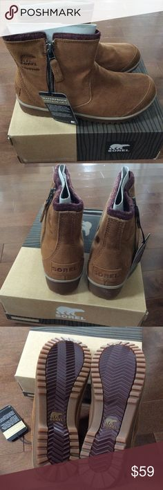 BNWT SOREL Meadow Zip Pull-On Waterproof Boots Elk Brand new in box & authentic.  ⭕️ Reasonable offers 🚫 trades,PayPal  Bundle to save!  Easy on and easy off, SOREL® Women's Meadow Zip Pull-On Boots are a must-have for hectic schedules. These no-fuss waterproof boots are new this season and are a go-to choice for comfort. The removable molded footbed and felt lining provide comfort and warmth, and the side zipper makes for an easy wear. The molded rubber outsole staves off water and…