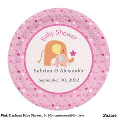 Pink Elephant Baby Shower Paper Plate