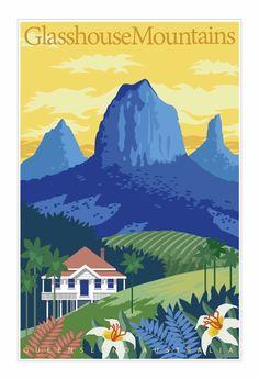 Vintage Poster, Travel Poster, Art Deco Poster, Glasshouse Mountains Poster, Queensland Poster, Australia Poster, Tropical Queensland Poster