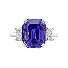 Betteridge Emerald-Cut Purple Sapphire & Diamond Ring ~ Emerald-cut purple sapphire ring in platinum with radiant-cut diamond side stones. GIA-certified: NATURAL SAPPHIRE Carat Weight: 8.54
