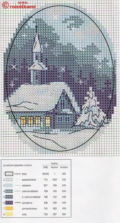 Christmas church  Cross Stitch Pattern