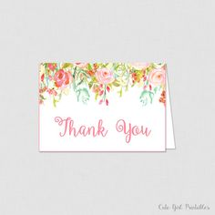 Printable Floral Bridal Shower Thank You Card - Bridal Shower Thank You Card - Floral Bridal Shower - Coral Floral 0004C