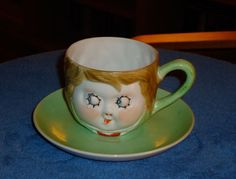 """Whimsical Nippon """"Face"""" Tea Cup and Saucer Circa early 20th century by 7AWestCollectibles on Etsy"""