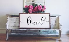 Wood Framed Signboard - Blessed - XL - 45x23
