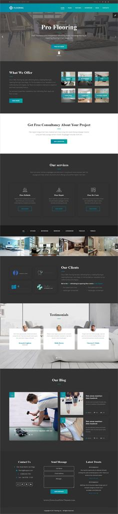 Flooring is clean and modern design 3in1 responsive #bootstrap template for #floor repair and #refinish services website with visual builder and dashboard download now..