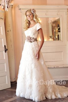 Modest Wedding Dress, Evangeline | LatterDayBride & Prom, I like the waistband with less flowers and more bling. :)