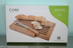 Core Natural Bamboo Bread Board with Built in Knife Holder Natural Large New | eBay